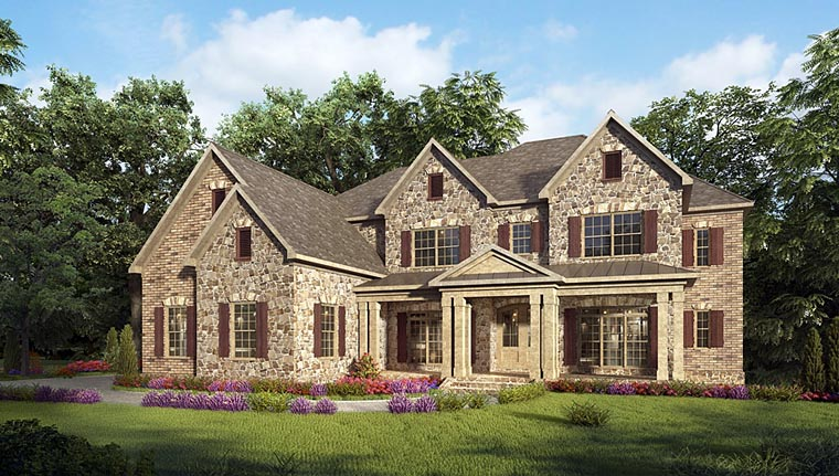 Craftsman, European, Traditional House Plan 58256 with 5 Beds, 6 Baths, 3 Car Garage Elevation