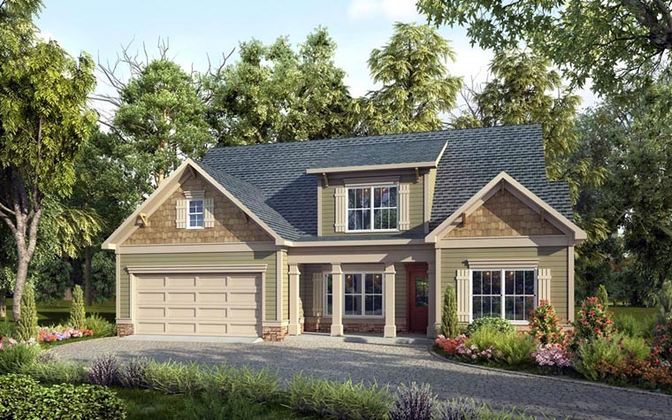 Craftsman, Traditional House Plan 58258 with 4 Beds, 3 Baths, 2 Car Garage Elevation