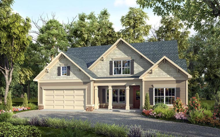 Craftsman, Traditional House Plan 58275 with 4 Beds, 3 Baths, 2 Car Garage Elevation