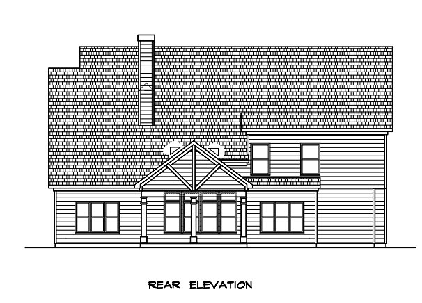 Craftsman Traditional House Plan 58277 Rear Elevation