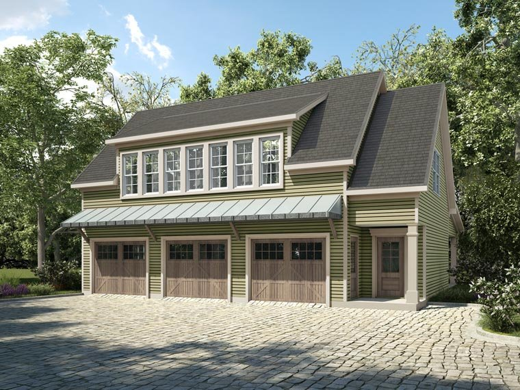 Traditional Style 3 Car Garage Apartment Plan Number 58287 with 1 Bed, 2  Bath