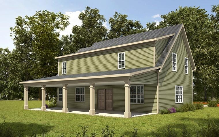 Country Craftsman Traditional Rear Elevation of Plan 58287