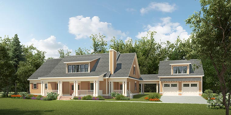 Colonial Contemporary Country Southern House Plan 58292 Elevation