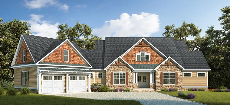 Country Craftsman Traditional House Plan 58294 Elevation