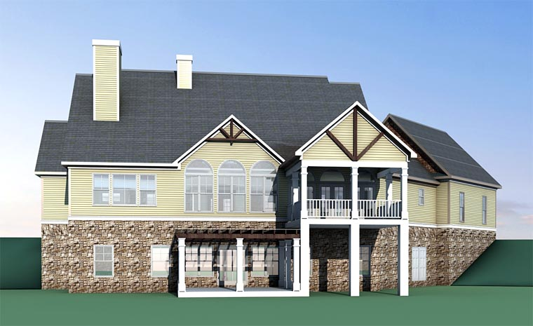Country Craftsman Traditional House Plan 58294 Rear Elevation