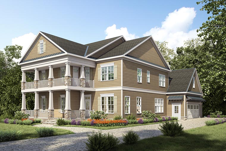 Colonial Craftsman Southern Traditional House Plan 58295 Elevation