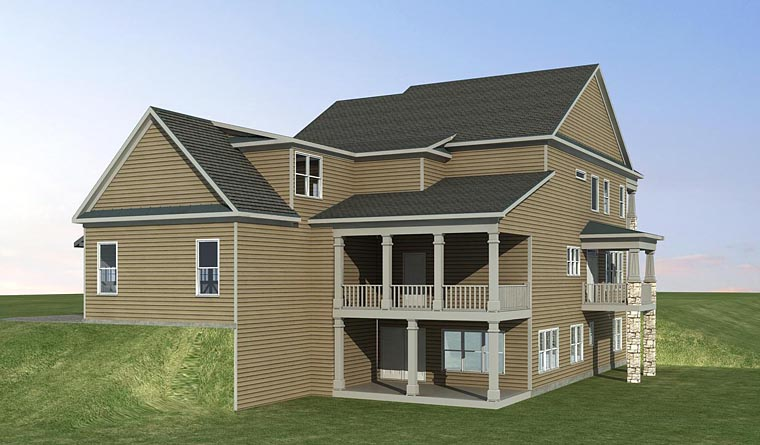 Colonial Craftsman Southern Traditional House Plan 58295 Rear Elevation