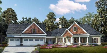 Cottage, Country, Craftsman House Plan 58296 with 4 Beds, 3 Baths, 3 Car Garage