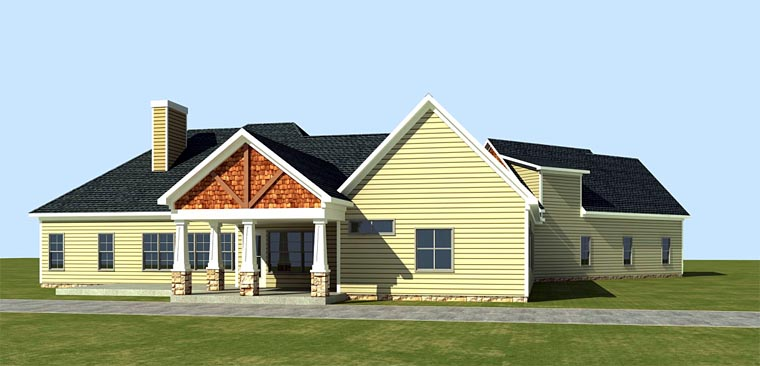 Cottage Country Craftsman House Plan 58296 Rear Elevation
