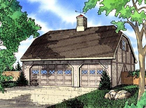 Tudor 3 Car Garage Plan 58418 Elevation