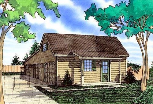 Farmhouse 3 Car Garage Plan 58419 Elevation
