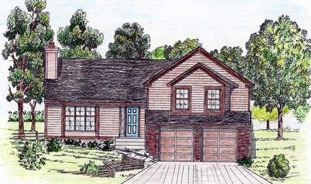 House Plan 58479 with 4 Beds, 3 Baths, 2 Car Garage
