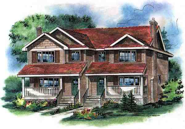 Traditional Multi-Family Plan 58501 Elevation