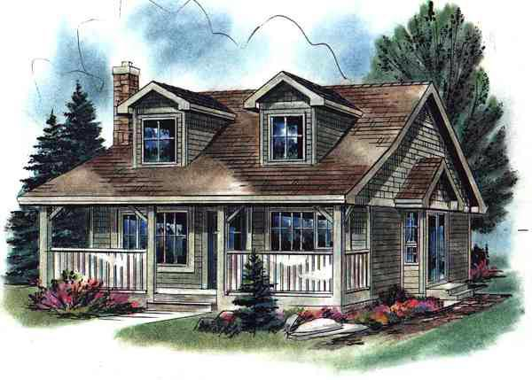House Plan 58508 Cape Cod Narrow Lot Plan With 736 Sq