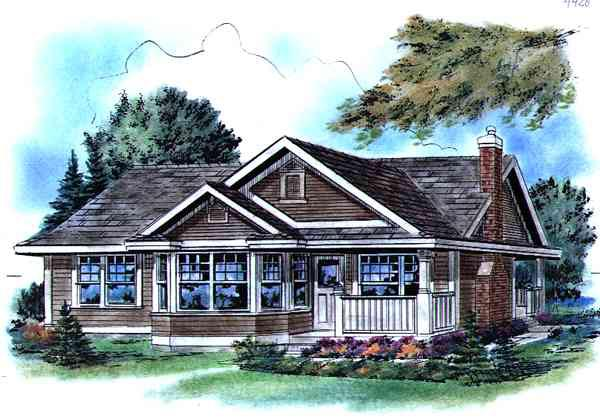 Elevation of Narrow Lot   Ranch   House Plan 58512
