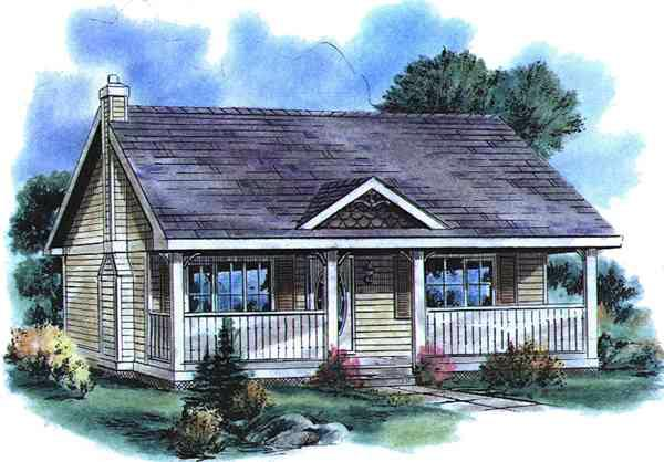 Country Style House Plan Number 58515 with 1 Bed, 1 Bath