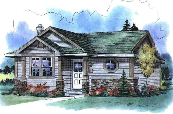 Elevation of Narrow Lot   Ranch   House Plan 58517