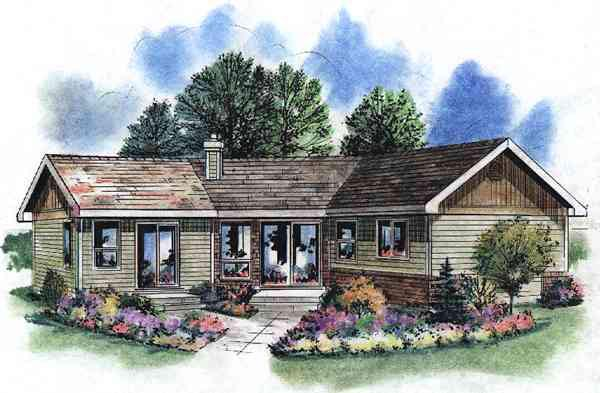 Elevation of Contemporary   House Plan 58518