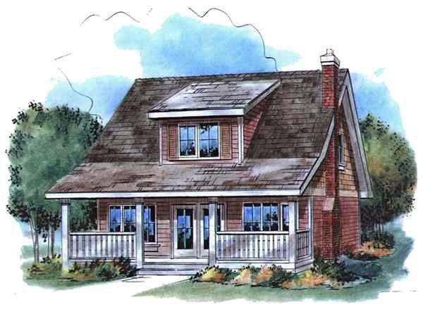 Country, Narrow Lot House Plan 58521 with 3 Beds, 2 Baths Elevation