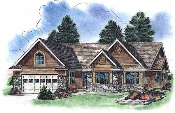 One-Story, Tudor House Plan 58526 with 3 Beds, 2 Baths, 2 Car Garage Elevation