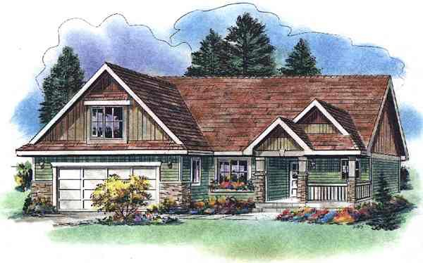 One-Story, Ranch House Plan 58527 with 2 Beds, 2 Baths, 2 Car Garage Elevation