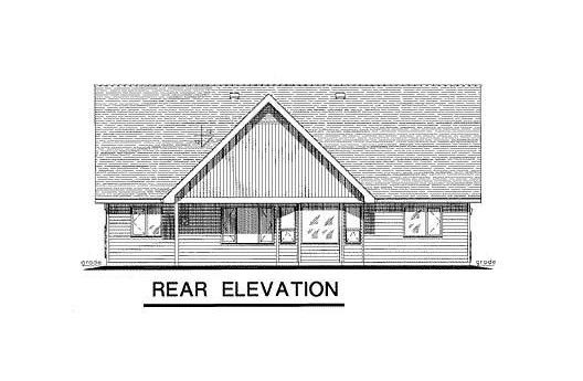 One-Story, Ranch House Plan 58527 with 2 Beds, 2 Baths, 2 Car Garage Rear Elevation