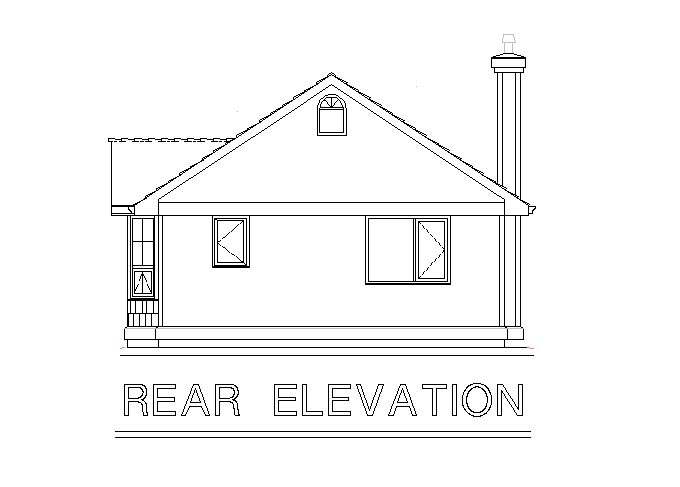 Craftsman, Narrow Lot, One-Story House Plan 58539 with 1 Beds, 1 Baths Rear Elevation