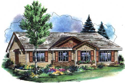 One-Story, Traditional Multi-Family Plan 58547 with 4 Beds, 2 Baths Elevation
