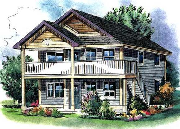 Narrow Lot, Traditional Multi-Family Plan 58549 with 6 Beds, 4 Baths Elevation