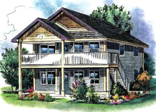 Traditional Multi-Family Plan 58549 Elevation