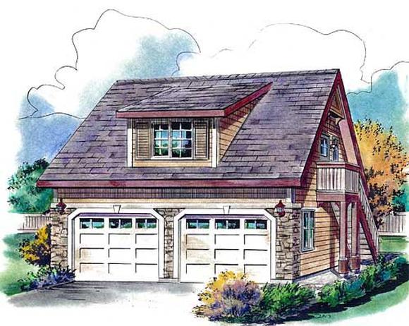 Contemporary, Country 2 Car Garage Apartment Plan 58563 with 1 Beds, 1 Baths Elevation