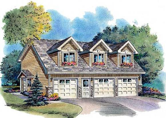 Cape Cod, Country, Traditional 3 Car Garage Apartment Plan 58568 with 2 Beds, 2 Baths Elevation
