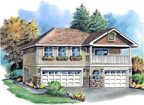 Garage plan 58569 at for 2 car garage with living space above plans
