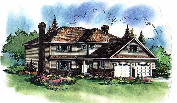 Narrow Lot, Traditional House Plan 58577 with 5 Beds, 3 Baths, 2 Car Garage Elevation