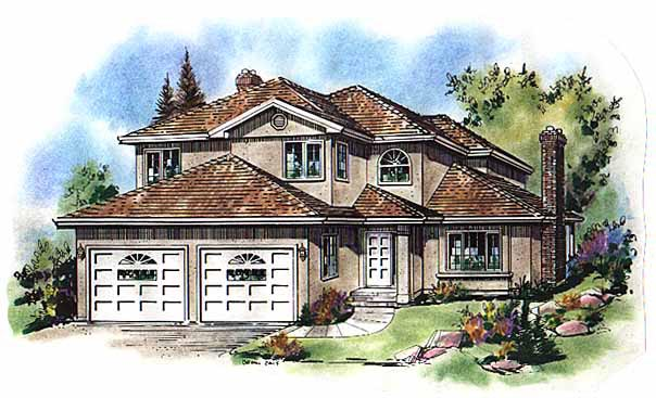European House Plan 58592 with 5 Beds, 3 Baths, 2 Car Garage Elevation