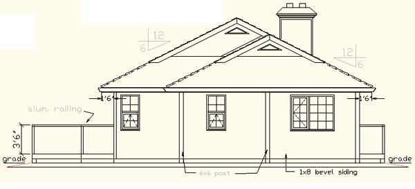 Contemporary, Narrow Lot, One-Story House Plan 58611 with 2 Beds, 2 Baths, 2 Car Garage Rear Elevation