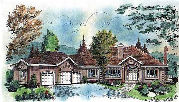 One-Story, Ranch House Plan 58620 with 3 Beds, 2 Baths, 3 Car Garage Elevation