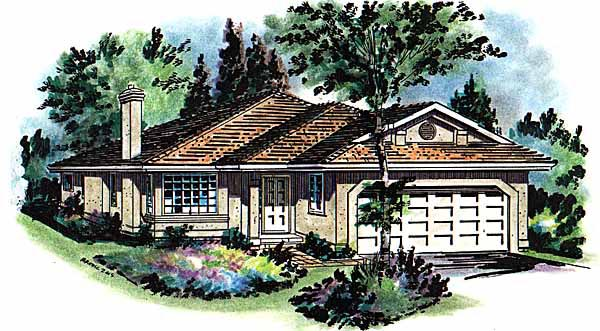 Florida, One-Story House Plan 58653 with 3 Beds, 2 Baths, 2 Car Garage Elevation