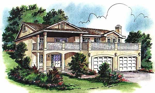 European House Plan 58720 with 3 Beds, 1 Baths, 2 Car Garage Elevation