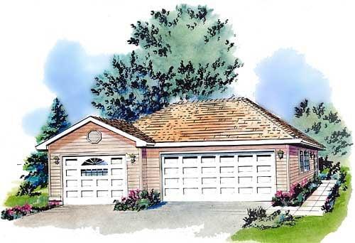 Contemporary 3 Car Garage Plan 58724 Elevation
