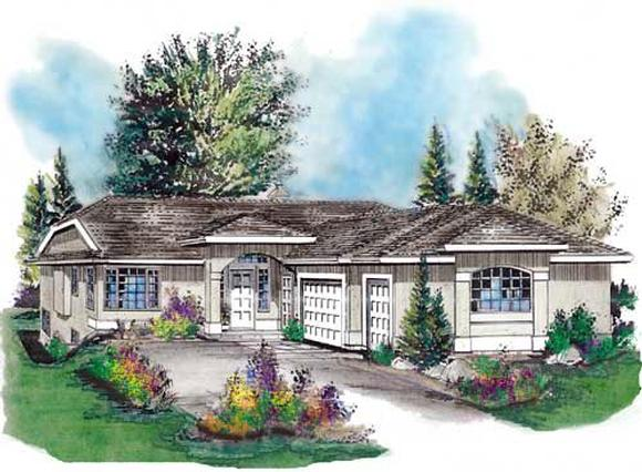 Florida, One-Story House Plan 58727 with 4 Beds, 3 Baths, 3 Car Garage Elevation