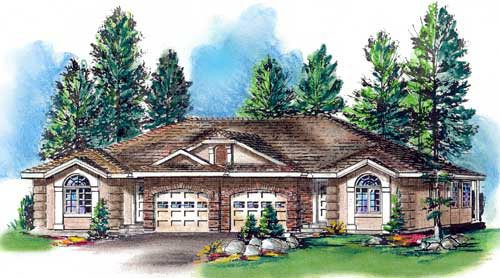 Ranch Multi-Family Plan 58770 Elevation