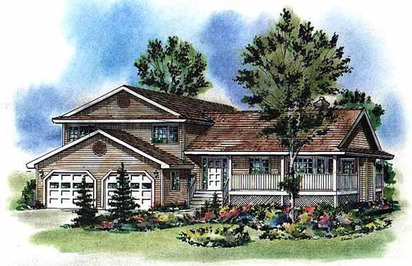 Country House Plan 58782 with 5 Beds, 3 Baths, 2 Car Garage Elevation