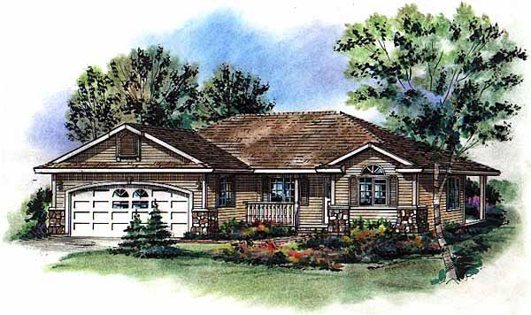 Elevation of Ranch   House Plan 58791