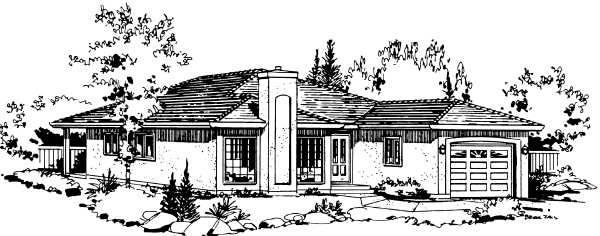 Florida, Narrow Lot, One-Story House Plan 58852 with 2 Beds, 2 Baths, 1 Car Garage Elevation