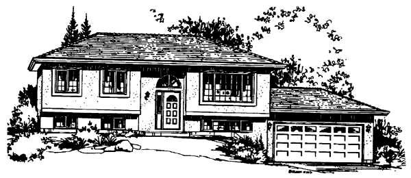 Ranch House Plan 58859 with 3 Beds, 1 Baths, 2 Car Garage Elevation