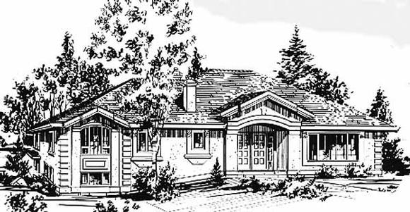 Ranch House Plan 58873 with 4 Beds, 3 Baths, 2 Car Garage Elevation