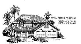 Mediterranean House Plan 58876 with 3 Beds, 2 Baths, 2 Car Garage Elevation