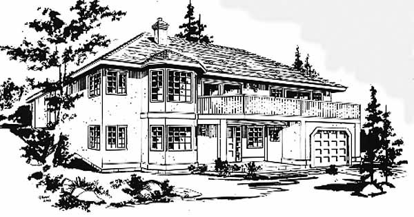 European House Plan 58878 with 2 Beds, 2 Baths, 2 Car Garage Elevation
