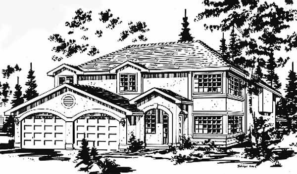 Florida, Narrow Lot House Plan 58880 with 3 Beds, 2 Baths, 2 Car Garage Elevation